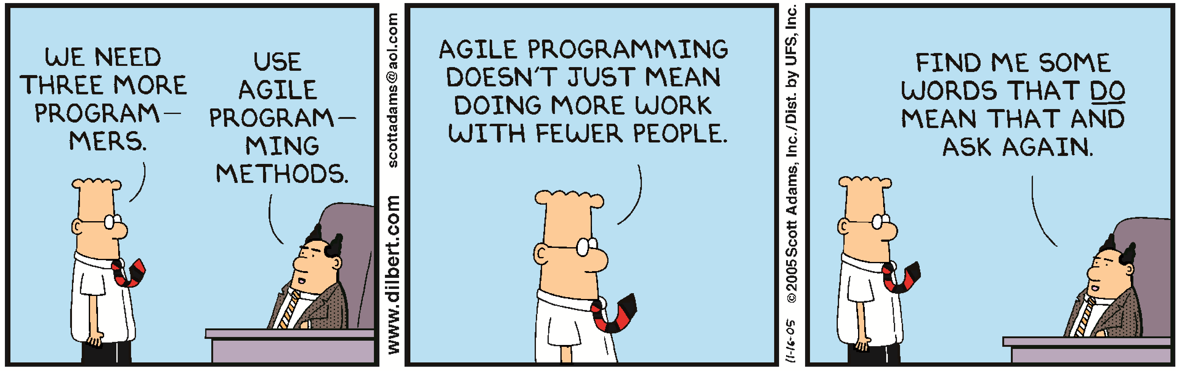 Dilbert - Agile Programming Speed